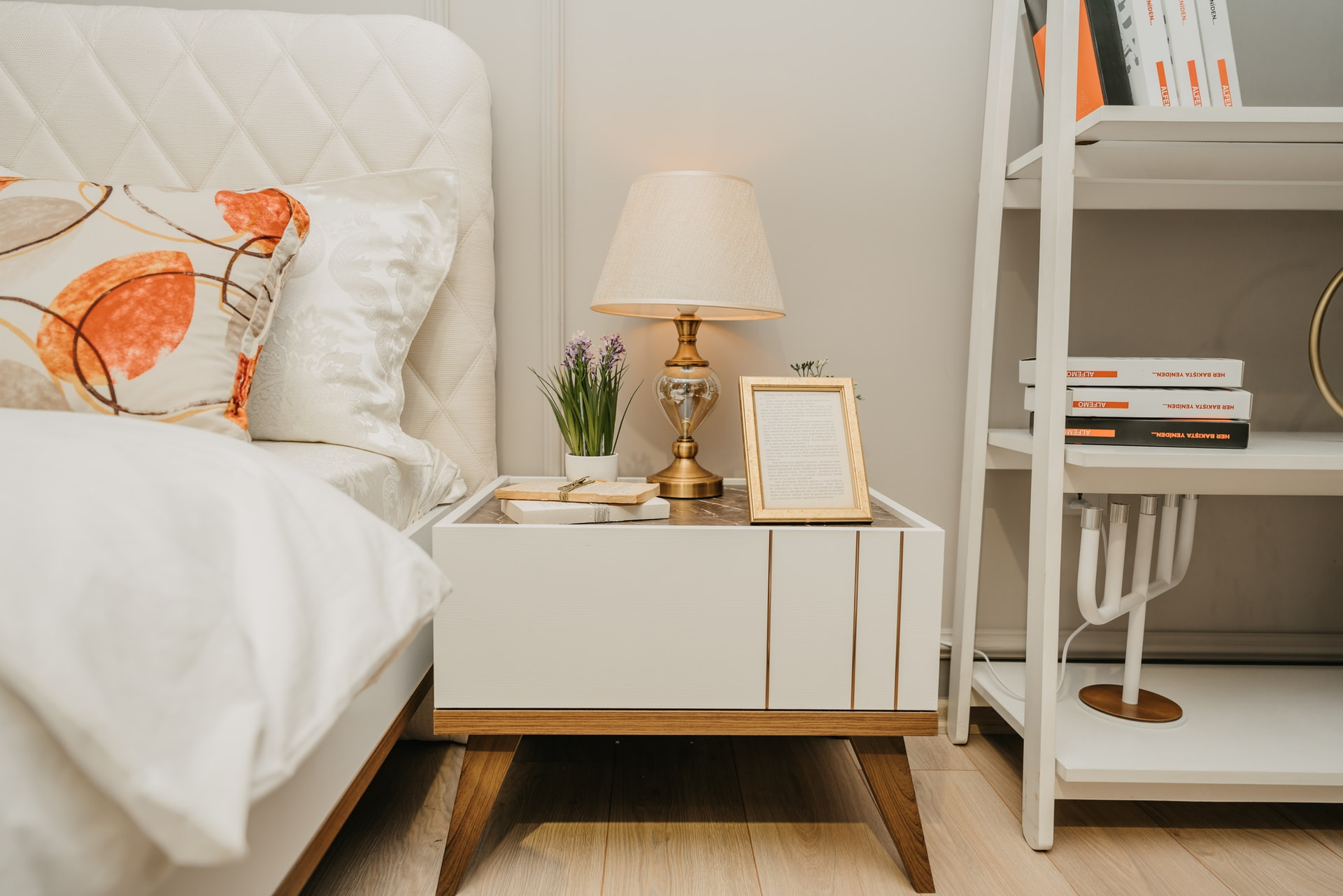 Bedroom layout styled by a professional organizer and interior stylist