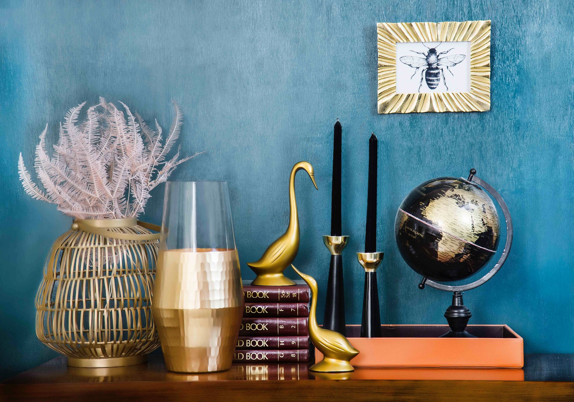 home accessories displayed in vignette and expertly arranged on shelf