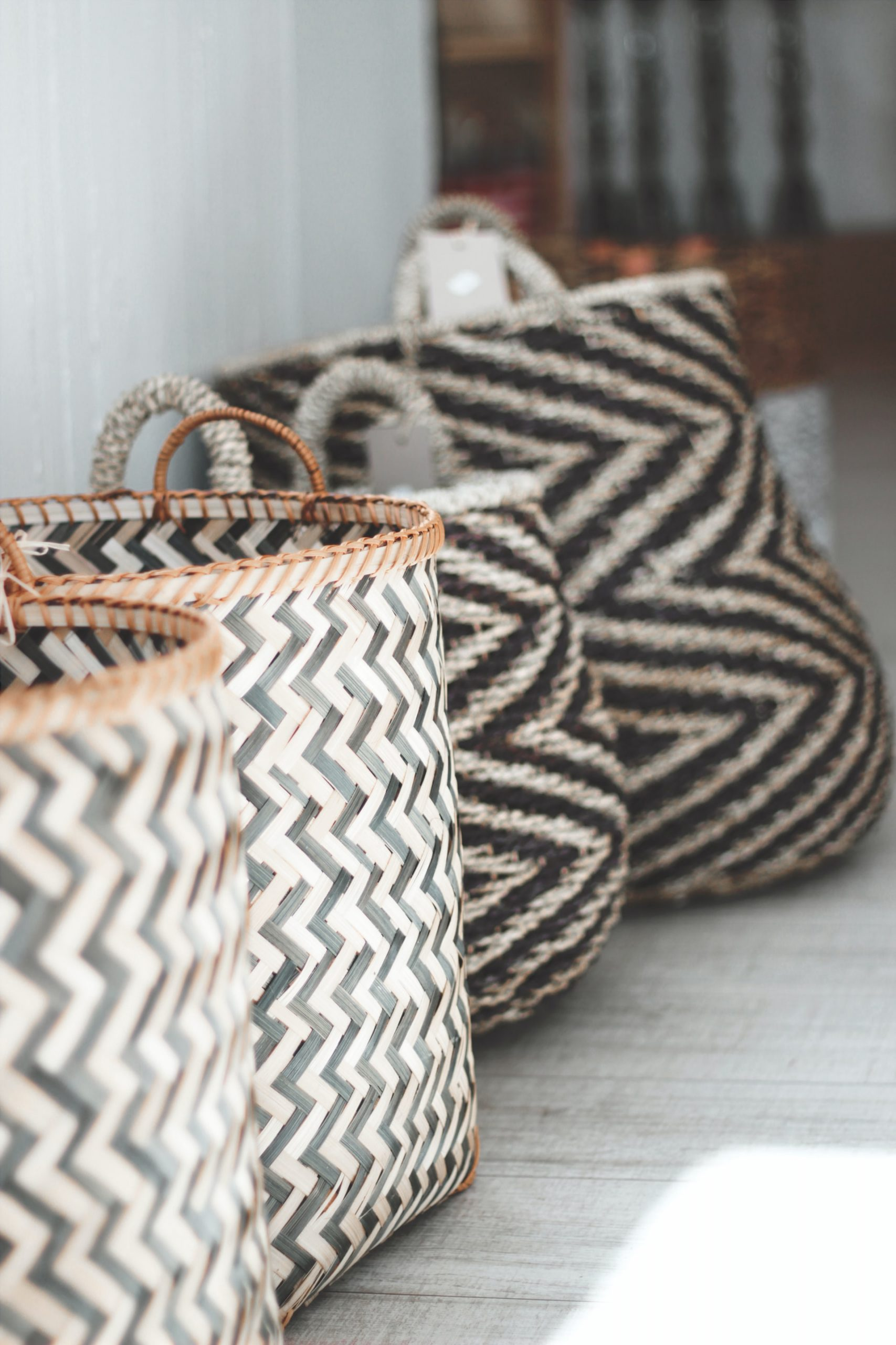 Baskets for shoes and throw storage