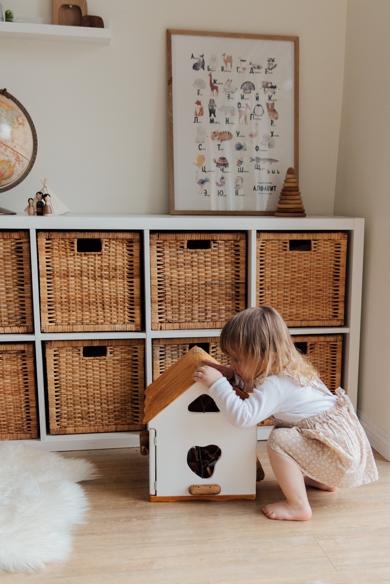 Ikea storage baskets and book shelves in a child's room