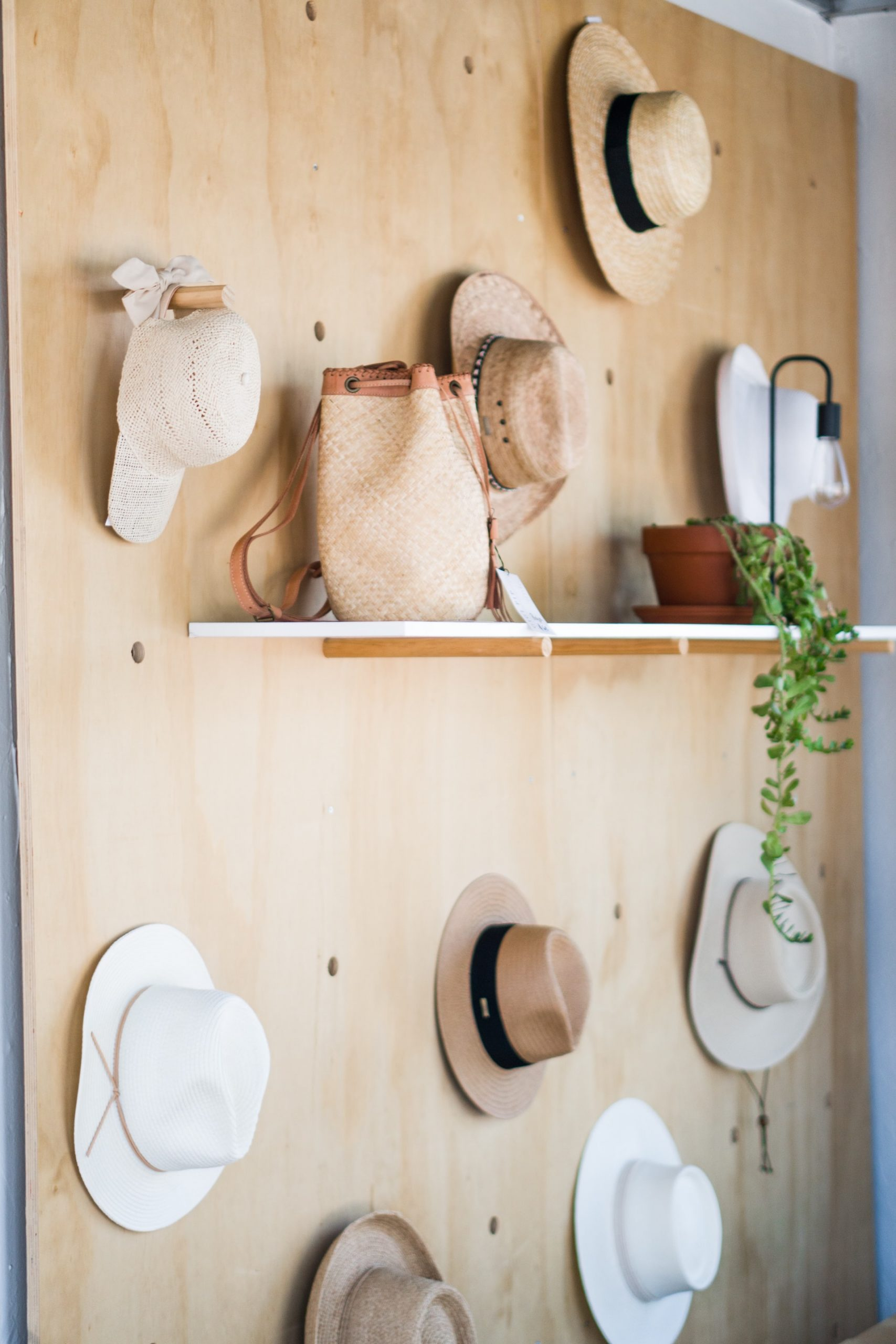 hat stand and peg board display