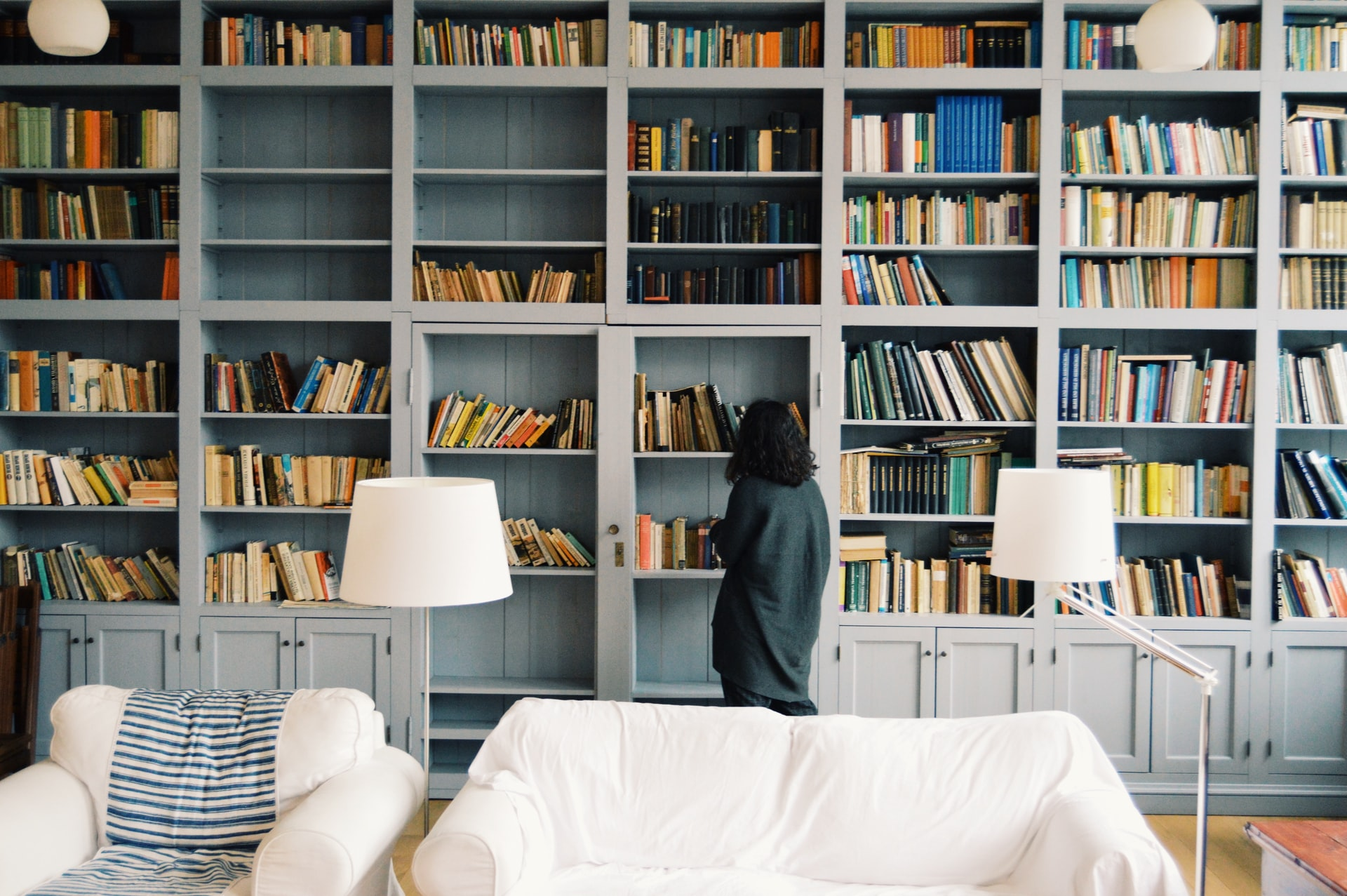 Organized shelves and library books in a home